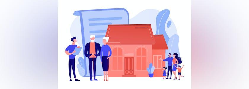 Illustration d'un couple âgé devant une maisondevant