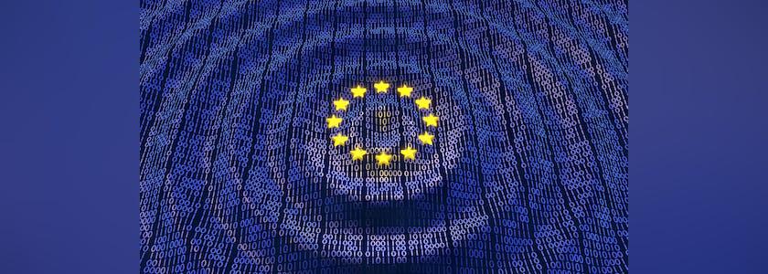 Drapeau européen sous forme de vague de données