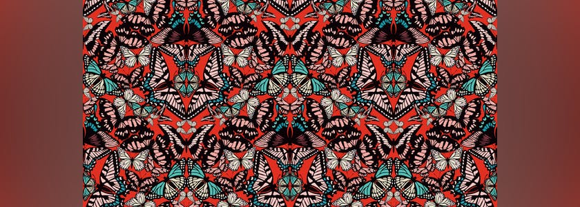 Seamless vector pattern, from various colored butterflies, making up a fashionable natural mosaic print for luxury fabric or paper, prints pillows, summer clothing. Trendy vector abstract background