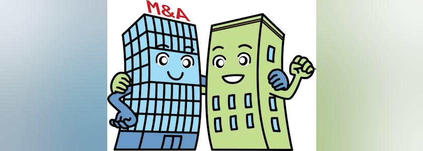 Dessin de deux immeubles bras dessus bras dessous illustrant une fusion de sociétés