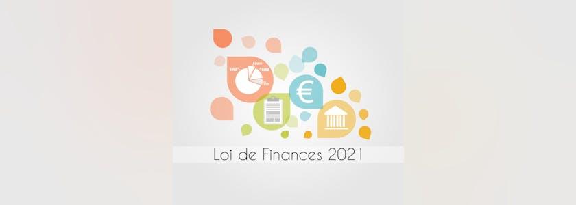 Dessin contenant divers icônes de monnaie euro, de l'assemblée nationale, un graphique, un dossier avec en dessous le texte Loi de finances 2021