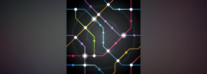 Carte de métro lumineuse sur fond noir