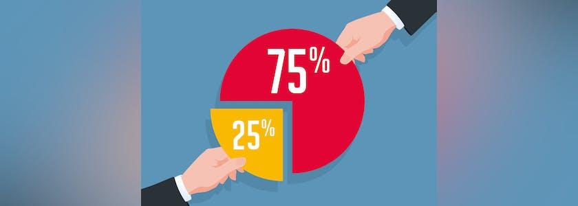 Dessin de 2 mains tirant chacune une portion d'un graphique camembert, sur l'une 25%, sur l'autre 75%