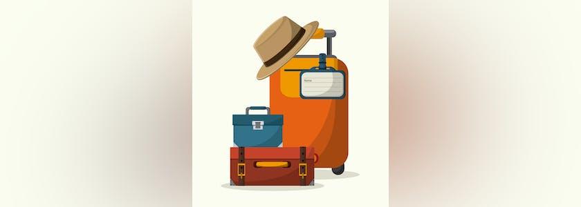 Dessin de 3 valises de taille différente