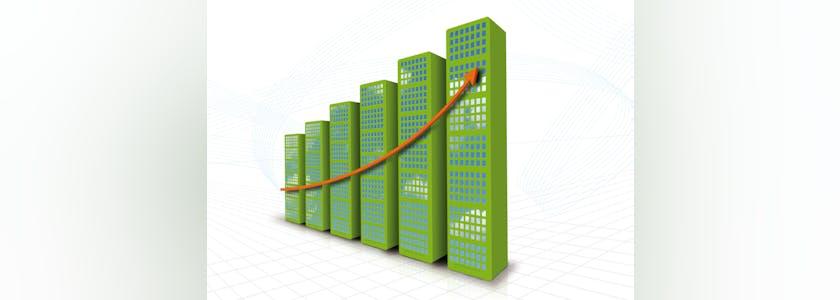 Immeubles de plus en plus hauts avec une courbe
