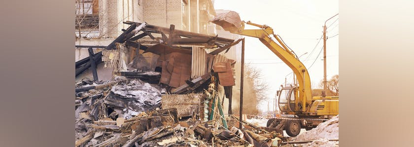 Démolition, déchets, immeuble